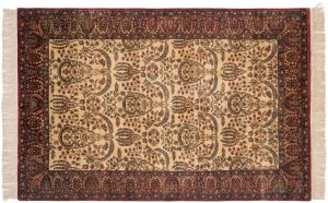 5×7 Kerman Oriental Ivory Hand-Knotted Rug