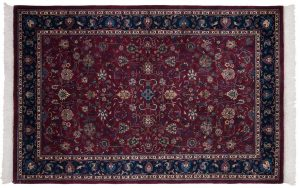 4×7 Vintage Meshed Oriental Red Hand-Knotted Rug
