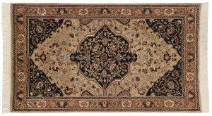 4×7 Kerman Oriental Beige Hand-Knotted Rug