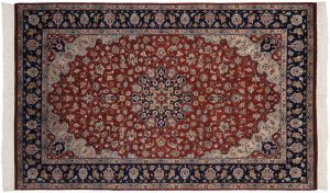 4×7 Persian Oriental Burgundy Hand-Knotted Rug