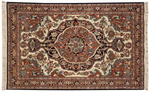 4×7 Kerman Oriental Ivory Hand-Knotted Rug