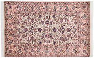 4×7 Persian Oriental Ivory Hand-Knotted Rug