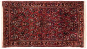 4×7 Persian Sarouk Oriental Red Hand-Knotted Rug