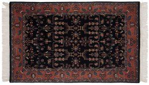 4×7 Sarouk Oriental Black Hand-Knotted Rug