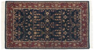 4×7 Sarouk Oriental Blue Hand-Knotted Rug