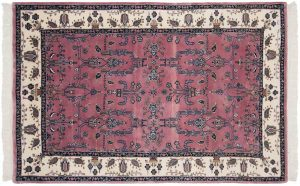 4×7 Sarouk Oriental Rose Hand-Knotted Rug