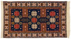 4×7 Vintage Shirvan Oriental Blue Hand-Knotted Rug