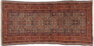 4×8 Persian Feraghan Oriental Blue Hand-Knotted Rug Runner
