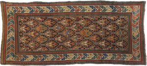4×9 Semi-Antique Kazak Oriental Brown Hand-Knotted Rug
