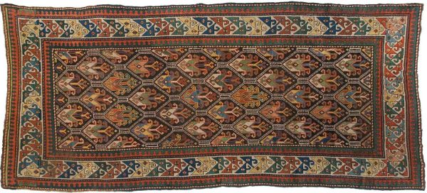 4x9 kazak brown oriental rug 011350