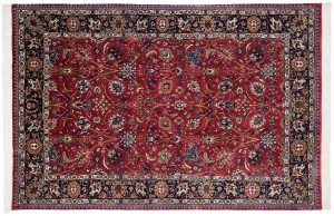 4×9 Tabriz Oriental Red Hand-Knotted Rug