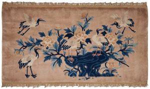 5×2 Vintage Peking Oriental Beige Hand-Knotted Rug