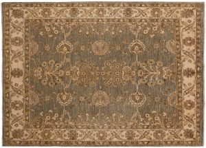 5×5 Chobi Oriental Grey Hand-Knotted Rug