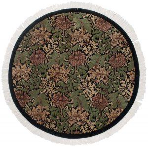 5×5 William Morris Oriental Black Hand-Knotted Round Rug