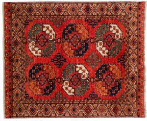 5×6 Ersari Oriental Rust Hand-Knotted Rug