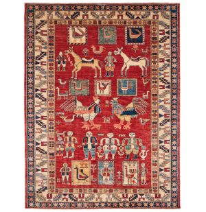 5×6 Kazak Oriental Red Hand-Knotted Rug
