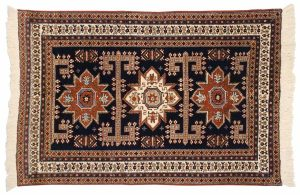 5×6 Vintage Persian Ardebil Oriental Blue Hand-Knotted Rug