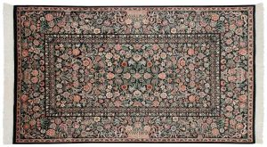 5×7 Aubusson Oriental Black Hand-Knotted Rug