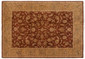 5×7 Kashan Oriental Brown Hand-Knotted Rug