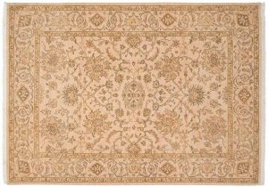 5×7 Kashan Oriental Ivory Hand-Knotted Rug