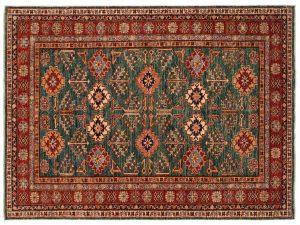 5×7 Kazak Oriental Green Hand-Knotted Rug