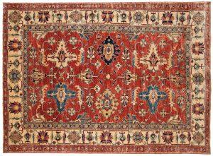 5×7 Kazak Oriental Red Hand-Knotted Rug
