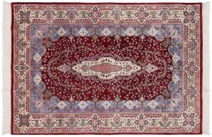 5×7 Kerman Oriental Red Hand-Knotted Rug