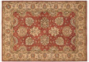 5×7 Mahal Oriental Red Hand-Knotted Rug