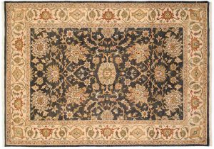 5×7 Oushak Oriental Black Hand-Knotted Rug