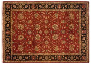 5×7 Oushak Oriental Red Hand-Knotted Rug