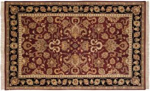 5×8 Agra Oriental Red Hand-Knotted Rug