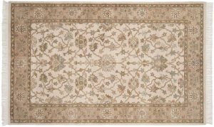 5×8 Agra Oriental Beige Hand-Knotted Rug