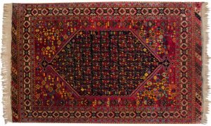 5×8 Vintage Caucasian Oriental Blue Hand-Knotted Rug
