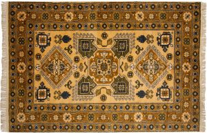5×8 Vintage Caucasian Oriental Gold Hand-Knotted Rug