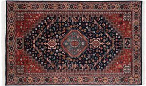 5×8 Ghashghai Oriental Blue Hand-Knotted Rug