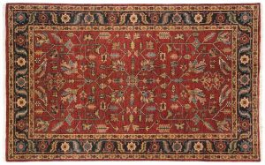 5×8 Heriz Oriental Red Hand-Knotted Rug