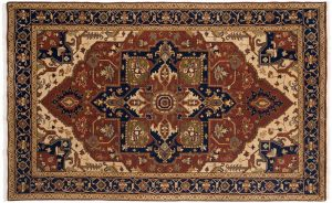5×8 Heriz Oriental Rust Hand-Knotted Rug