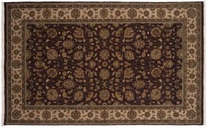5×8 Kashan Oriental Brown Hand-Knotted Rug