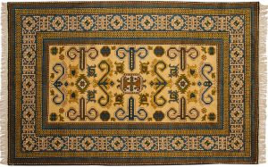 5×8 Semi-Antique Kazak Oriental Gold Hand-Knotted Rug