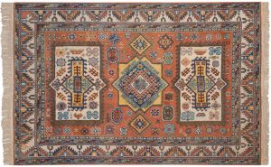 5×8 Semi-Antique Kazak Oriental Rust Hand-Knotted Rug