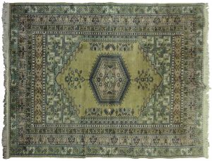 5×8 Vintage Kula Oriental Green Hand-Knotted Rug