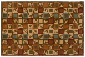 5×8 Block Oriental Multi Color Hand-Knotted Rug