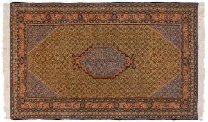 5×8 Persian Ardebil Oriental Green Hand-Knotted Rug