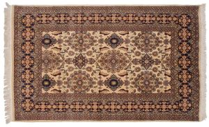 5×8 Vintage Persian Oriental Beige Hand-Knotted Rug