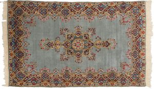 5×8 Persian Kerman Oriental Grey Hand-Knotted Rug