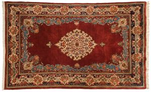 5×8 Persian Sarouk Oriental Burgundy Hand-Knotted Rug