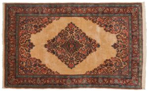 5×8 Persian Sarouk Oriental Ivory Hand-Knotted Rug