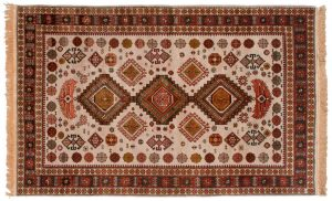 5×8 Vintage Shirvan Oriental Gold Hand-Knotted Rug