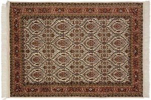 5×8 Vintage Yezd Oriental Ivory Hand-Knotted Rug
