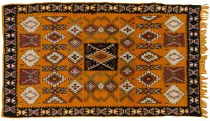 5×9 Semi-Antique Moroccan Oriental Orange Hand-Knotted Rug